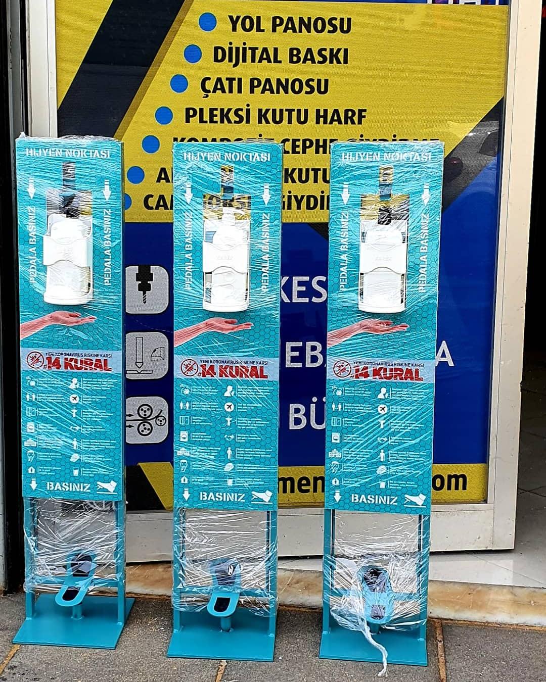 Ayak Basmalı Dezenfektan dispenseri